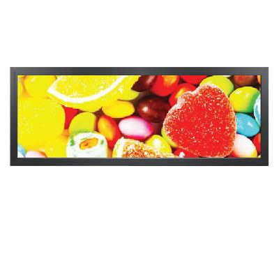 High quality supermarket ultra wide edge stretched LCD commercial shelf advertising display lcd bar