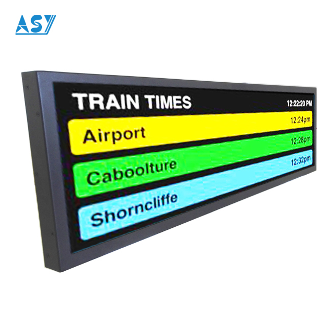 Wide stretched bar lcd monitor passenger information display